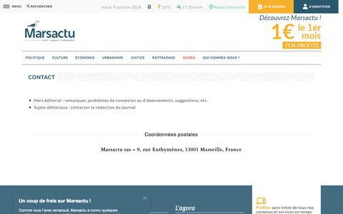 Screenshot of FAQ Page marsactu.fr - Contact Marsactu - captured Oct. 9, 2018