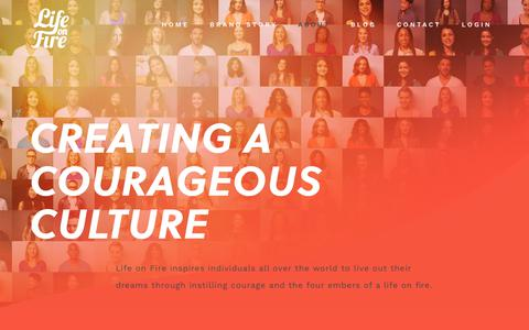 Screenshot of About Page lifeonfire.com - Creating a Courageous Culture - Life On Fire - captured July 19, 2018