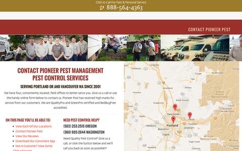 Screenshot of Contact Page pioneerpest.com - Contact Pioneer Pest - Pioneer Pest Management | Pest Control Portland Oregon Vancouver Washington - captured Nov. 7, 2016