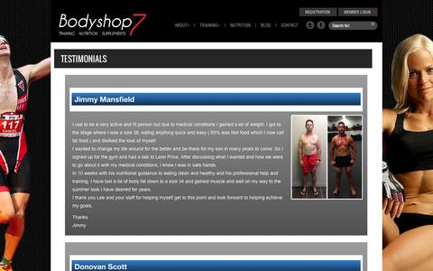 Screenshot of Testimonials Page bodyshop7.com - Testimonials | Bodyshop7 - captured Sept. 30, 2014