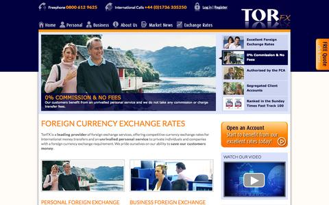 Screenshot of Home Page torfx.com - Exchange Rates, Best Foreign Currency Exchange Rate | TorFX - captured Sept. 24, 2014