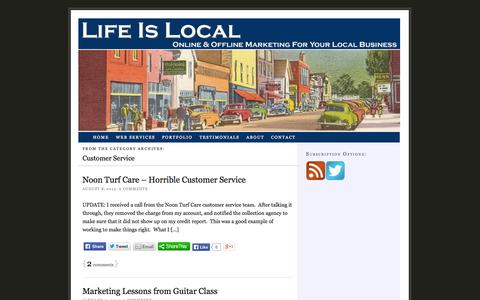 Screenshot of Support Page lifeislocal.com - Customer Service - captured Sept. 30, 2014