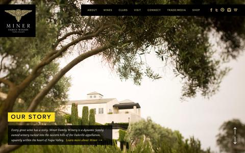 Screenshot of Home Page minerwines.com - Miner Family Wines | Oakville CA Winery - captured Jan. 12, 2016