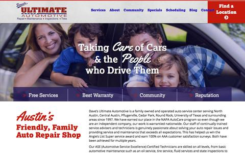Screenshot of Home Page davesultimateautomotive.com - Dave's Ultimate Automotive - Auto Repair Austin TX - captured Aug. 5, 2018