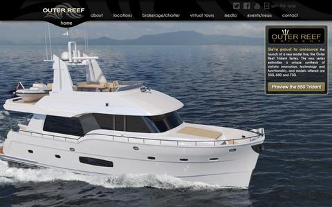 Screenshot of Home Page Menu Page outerreefyachts.com - Outer Reef Yachts - captured Sept. 30, 2014