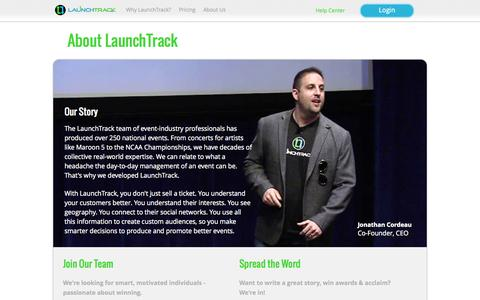 Screenshot of About Page launchtrack.com - LaunchTrack - captured Oct. 30, 2014