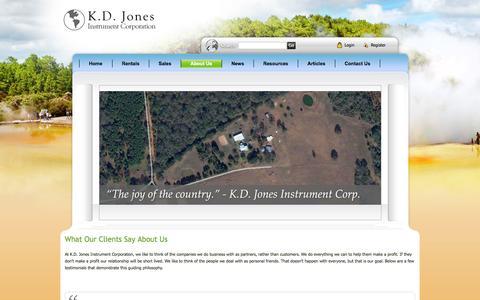 Screenshot of Testimonials Page kdjonesinstruments.com - Geophysical Instruments for Subsurface Imaging Rentals- K.D. Jones Instruments > About Us > Testimonials - captured Oct. 6, 2014