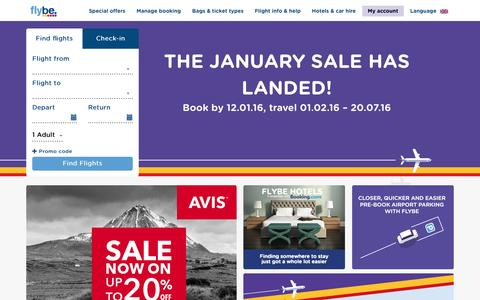 Screenshot of Home Page flybe.com - Cheap Flights & Low Cost Flight Tickets | Flybe UK - captured Jan. 8, 2016