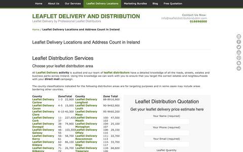 Screenshot of Locations Page leafletdistributiondublin.com - Leaflet Distribution Services in Ireland - Leaflet Delivery Ireland - captured Sept. 27, 2018