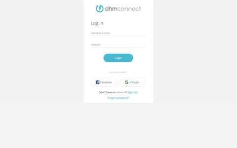 Screenshot of Login Page ohmconnect.com - OhmConnect - captured March 9, 2018