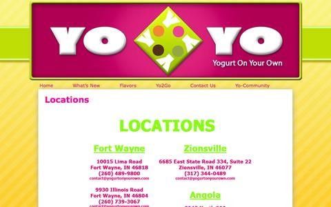 Screenshot of Locations Page yogurtonyourown.com - Yogurt On Your Own   Locations - captured Oct. 9, 2014