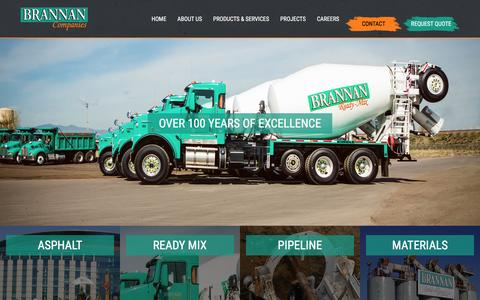 Screenshot of Home Page brannan1.com - Welcome | Brannan Sand and Gravel - captured Feb. 8, 2016