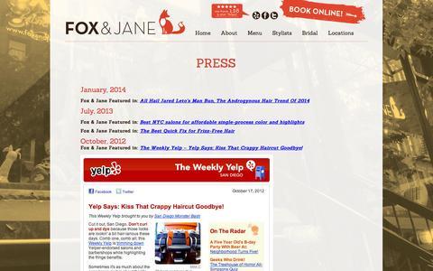 Screenshot of Press Page creativehaus.com - Press - Fox and Jane Salon - captured Sept. 19, 2014