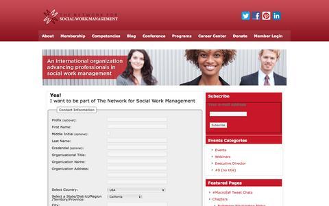 Screenshot of Signup Page socialworkmanager.org - Network for Social Work Management - captured April 24, 2016