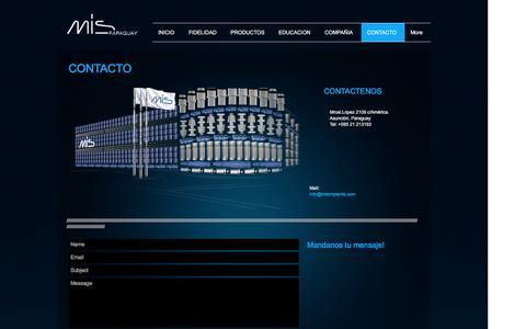 Screenshot of Contact Page misimplants.com.py - MIS Implants Paraguay | CONTACTO - captured Nov. 18, 2016