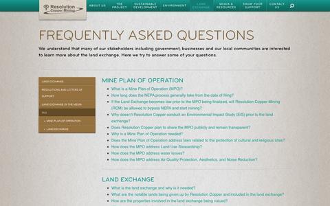 Screenshot of FAQ Page resolutioncopper.com - FAQ - captured Oct. 26, 2014