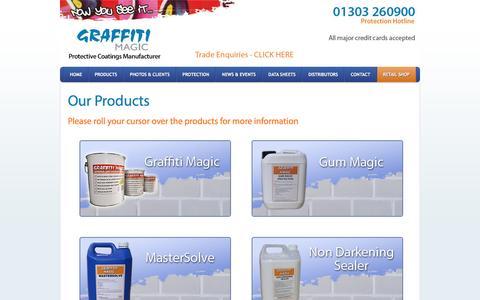 Screenshot of Products Page graffitimagic.com - Products | Graffiti Magic Anti Graffiti Paint - captured Feb. 1, 2016