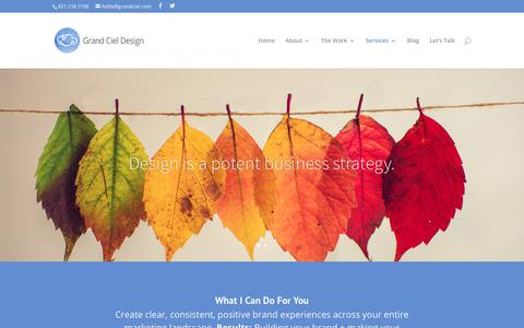Screenshot of Services Page grandciel.com - Grand Ciel Design: Creative Services - Branding + Print + Online Marketing - captured Sept. 30, 2018