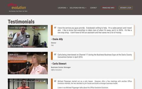 Screenshot of Testimonials Page officeevolution.com - Testimonials - Office Evolution - captured Aug. 15, 2016