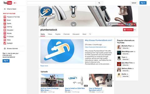 Screenshot of YouTube Page youtube.com - plumbersstock  - YouTube - captured Oct. 22, 2014