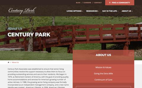 Screenshot of About Page centurypa.com - Century Park - captured July 22, 2017