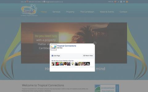 Screenshot of Home Page tropicalconnections.co.uk - Tropical Connections | Caribbean Property Specialists | Properties for Sale in Jamaica, Barbados, St Lucia, Dominica & Grenada - captured Dec. 20, 2016