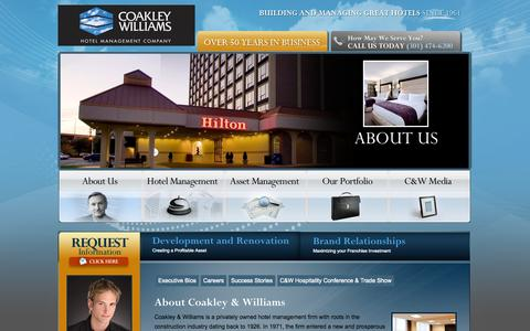 Screenshot of About Page cwhotels.com - About Coakley Williams Hotel Management Company - captured Sept. 23, 2014
