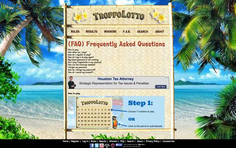 Screenshot of FAQ Page troppolotto.com - Lotto Style Sweepstakes - Play Lottery Style Game for Free & Win Money - TroppoLotto - captured Oct. 9, 2014