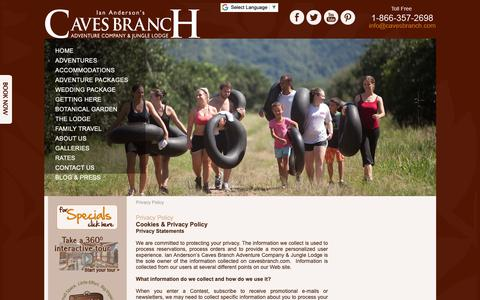 Screenshot of Privacy Page cavesbranch.com - Privacy Policy | Caves Branch Jungle Lodge - captured Oct. 11, 2018