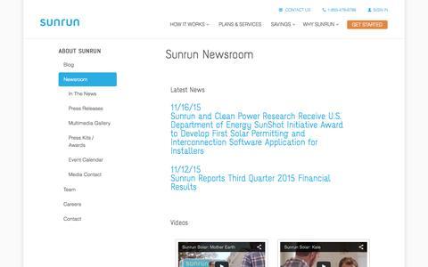 Screenshot of Press Page sunrun.com - Sunrun - Newsroom - captured Nov. 22, 2015