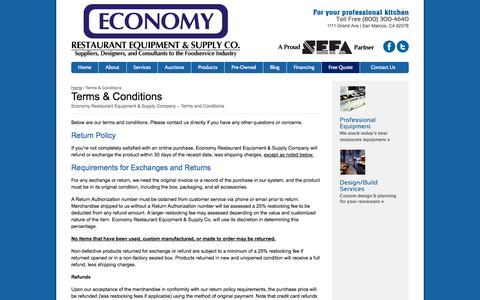 Screenshot of Terms Page economyrestaurantequip.com - Terms and Conditions - Economy Restaurant Equipment & Supply Company - captured Oct. 2, 2014