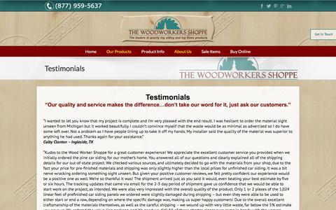 Screenshot of Testimonials Page woodworkersshoppe.com - Testimonials - Wood Workers Shoppe - captured Feb. 15, 2016