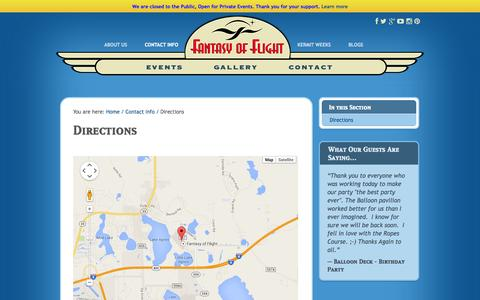 Screenshot of Maps & Directions Page fantasyofflight.com - Directions | Fantasy of Flight - captured Sept. 30, 2014