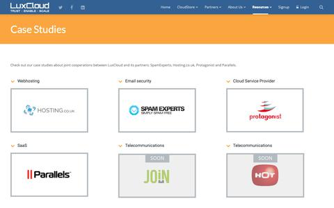 Screenshot of Case Studies Page luxcloud.com - Case studies about LuxCloud and its partners - captured Nov. 5, 2018