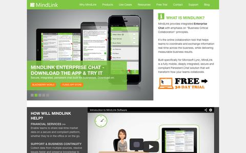 Screenshot of Home Page mindlinksoft.com - MindLink. Best-in-class Business Critical Collaboration platform - captured Oct. 6, 2014