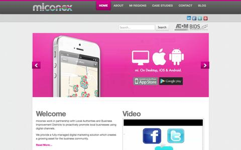 Screenshot of Home Page mi-cnx.com - miconex - Connecting local businesses with local consumers - captured Oct. 6, 2014