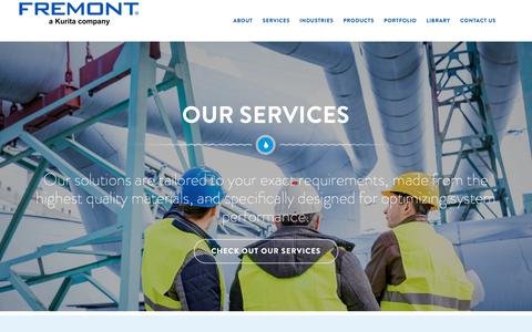 Screenshot of Services Page fremontind.com - Water Treatment Services   Fremont Water Solutions - captured Oct. 11, 2018