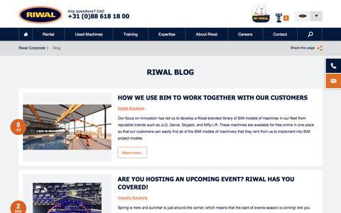 Screenshot of Blog riwal.com - Interesting Aerial Work Platform news & articles l Riwal Blog - captured July 19, 2019