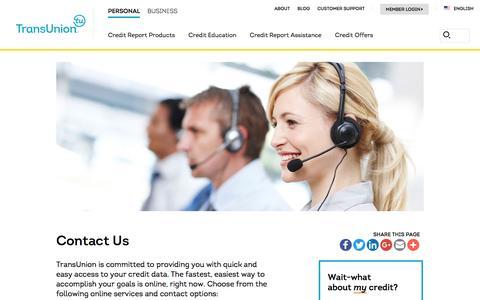 Screenshot of Contact Page transunion.com - Contact Us   TransUnion.com - captured Dec. 6, 2016