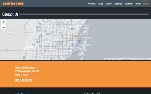 Screenshot of Contact Page centre-line.com - Contact Us   Centre-Line Real Estate - captured Sept. 27, 2018