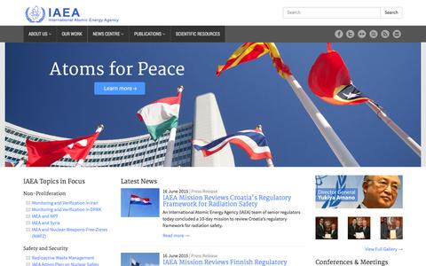Screenshot of Home Page iaea.org - International Atomic Energy Agency | Atoms For Peace - captured June 17, 2015