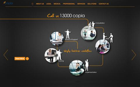 Screenshot of Home Page copia.com.au - Copia | Simply Better Workflow - captured Oct. 3, 2014