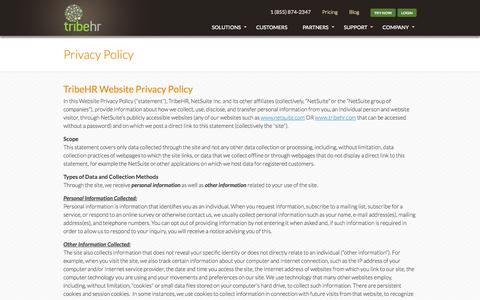 Screenshot of Privacy Page tribehr.com - TribeHR HR Data Privacy and Security | HR Software Privacy - captured Sept. 17, 2014