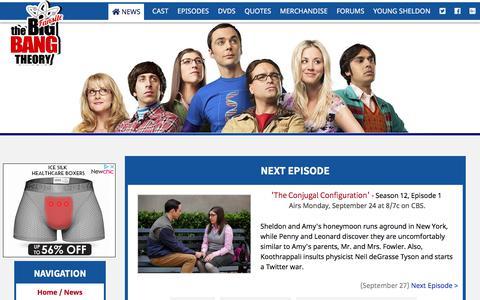 Screenshot of Home Page the-big-bang-theory.com - The Big Bang Theory Site - captured Sept. 23, 2018