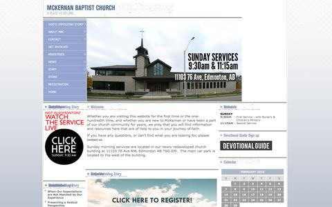 Screenshot of Home Page mckernanbaptist.ca - McKernan Baptist Church - captured Feb. 12, 2016