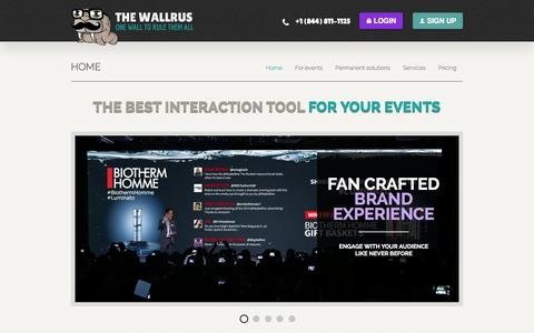Screenshot of Home Page the-wallrus.com - The Wallrus | Twitter and Instagram wall for events - captured Oct. 1, 2014