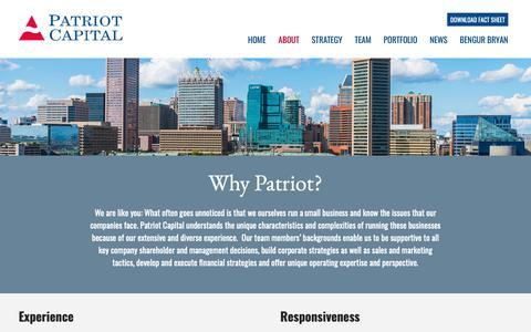 Screenshot of About Page patriot-capital.com - About – Patriot Capital - captured Nov. 4, 2018