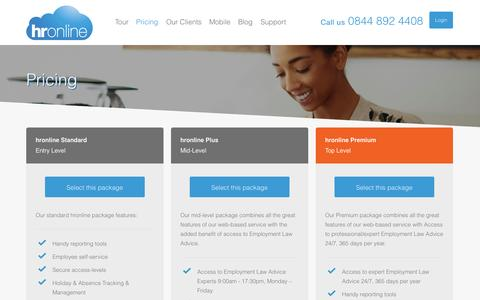 Screenshot of Pricing Page hronline.co.uk - Pricing | Online HR Software & Payroll Software - hronline - captured Oct. 30, 2014