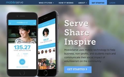 Screenshot of Home Page mobileserve.org - Home - MobileServe - captured Feb. 14, 2016