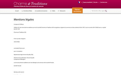 Screenshot of Terms Page charme-traditions.com - Mentions légales - captured Sept. 23, 2014